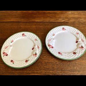 Pair of TWO Avon Bunny Collection plates